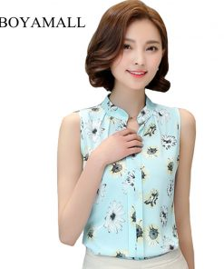 BIBOYAMALL Women Blouses 2017 Casual Elegant OL Chiffon Blouse Slim Sleeveless Work Wear Blusas Feminina Tops Shirts Plus size