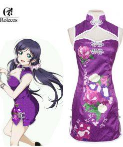 Rolecos Custom-made Anime Love Live Cosplay Costume Tojo Nozomi Chinese Classical Retro Elegant Cheongsam