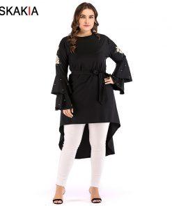 Siskakia Women Dresses Autumn 2018 Fashion Asymmetry cut rose Embroidery double flare long sleeve Beading design plus size Dress