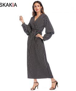 Siskakia Maxi Dresses long sleeve V neck plus size long dress Vertical Stripes Bow sash Kimono Dress loose large size Jubah 5XL 1