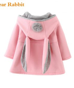 Cute Rabbit Ear Hooded clothes Coat New Spring jackets for Girls Autumn Warm Kids Outerwear Children Clothing Baby windbreakers