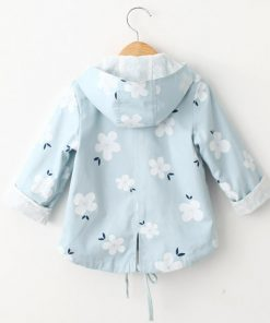 Bear Leader Girls Coats 2018 New Antumn Fashion Floral Print Hooded Coats Full Sleeves Double-Breasted Kids Coats For 2T-6T 1