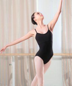 Adult Black Leotard Gymnastics Staps Dance Bodysuit Ballet with Open Back Training Cotton Jumpsuit 1