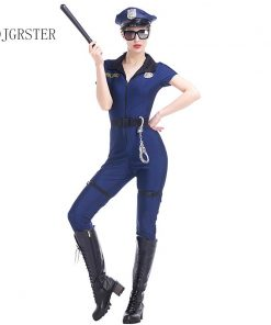 DJGRSTER 2018 New Style Women Police Jumpsuits Uniform Cosplay Policewoman Outfit Halloween Costumes Sexy Nightclub Cop Costume 1