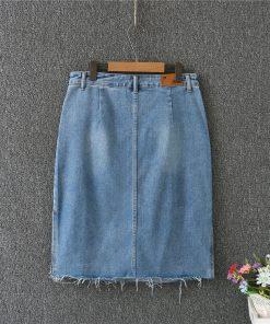 2018 Women Summer Denim Skirts High Waist Pearl Beading Plus Size Women Skirts Jupe Femme Big Size Women Skirt Saia Faldas 1
