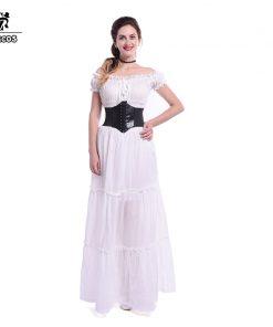 Rolecos Brand 2017 Off Shoulder Strapless Cotton Evening Dress Women High Waist Tunic Long Dress Ball Gown Dress for Halloween  1