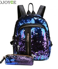 2pcs/Set Glitter Sequins Backpack New Teenage Girls Fashion Bling Rucksack Students School Bag with Pencil Case Clutch Mochilas