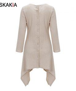 Siskakia Autumn Fall 2018 basic dresses for women solid brief casual Asymmetrical cut long sleeve T shirt dresses Plus size 4XL 1