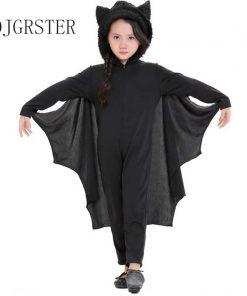 2018 New Child Animal Cosplay Cute Bat Costume Kids Halloween Costumes Black Zipper Jumpsuit Connect Wings Batman Clothes