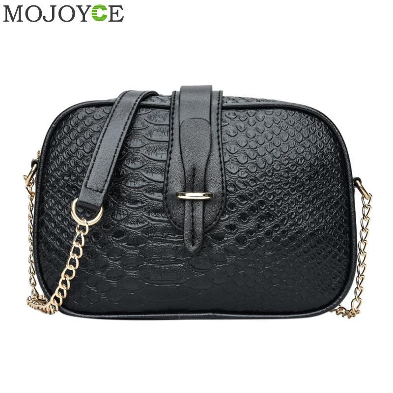 Crocodile 2018 Vintage Women's Bag Hit Color Crocodile Pattern Leather Shoulder Bag Round Women's Handbags Chain Messenger Bag   1