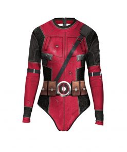 Liva girl Sexy Women Cosplay Costume Deadpool Superhero One Piece Tight Swimwear Long Sleeve Zipper Swimsuit One Size