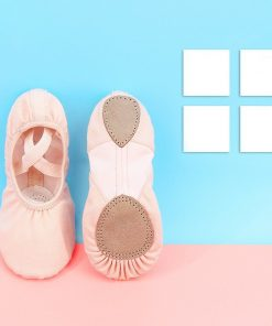 Professional Children Cotton Canvas Flexible Ballet Dance Shoes Girls Kids Soft Sole Flat Shoes For Dance