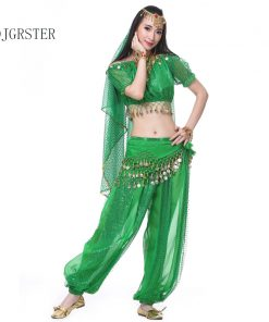 DJGRSTER 2018 New 2pcs Belly Dance Costume Bollywood Costume Indian Bellydance Pants+Top Women Belly Dancing Costume Sets Tribal