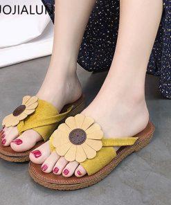 SUOJIALUN 2018 New Women Bow Slippers Fashion Flowers Beach Slippers Home Flip Flops Comfortable Flat Shoes Women Sandals 1