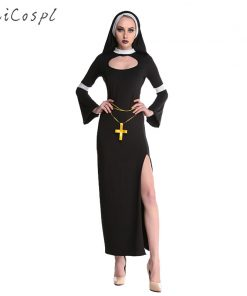 Nun Costume Halloween Female Fancy Sexy Black Church Sister Disguise Party Cosplay Dress Fantasy Stage Performance Clothing
