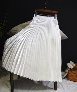 Sherhure 2018 Spring Women Long Skirts Fashion Brand A-Line Women Pleated Skirts High Waist Women Midi Skirt Faldas Mujer Saias 1