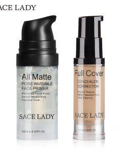 SACE LADY Face Makeup Set Matte Foundation Primer Full Cover Concealer Cream Liquid Corrector Make Up Kit Base Pores Cosmetic