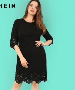 SHEIN Black O Neck High Waist Elegant Plus Size Pencil Dresses Women Autumn Three Quarter Sleeve Knee Length Scallop Hem Dress