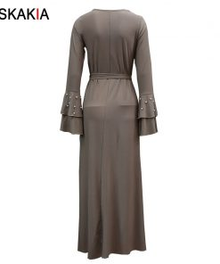 Siskakia Formal dress Party Dinner Evening Wear maxi long dress Fashion Beading Flare Sleeve design A line dresses Autumn muslim 1