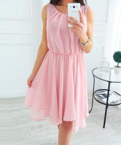 Boho Summer Chiffon Dress 2018 New Fashion Beach Sundress Women O-Neck Sleeveless Pleated Party Dresses Solid Sexy GV552 1