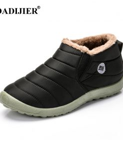 DADIJIER New Fashion Men Winter Shoes Solid Color Snow Boots Plush Inside Antiskid Bottom Keep Warm Waterproof Ski Boots ST228