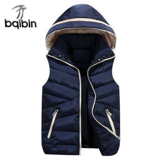 2018 NEW Autumn Winter Men Warm Vest Detachable Cap Cotton Femme Sleeveless Jacket Casual Cardigan Waistcoat 3XL