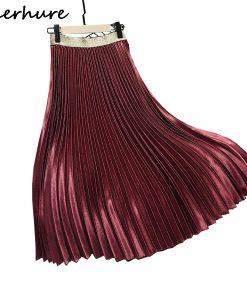 2018 Winter Women Elegant Pleated Skirt Elastic High Waist Women Long Skirt Female Autumn Ladies High Quality Midi Skirt Saia 1