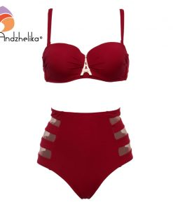 Andzhelika High Waist Swimwear Women Bandeau Bikini 2018 Sexy Mesh Bottom Bikini Set Diamond decoration Swim Bathing Suits