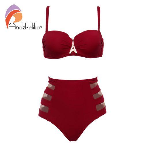 Andzhelika High Waist Swimwear Women Bandeau Bikini 2018 Sexy Mesh Bottom Bikini Set Diamond decoration Swim Bathing Suits