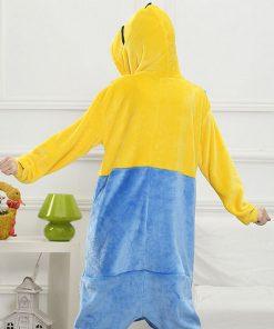 Pajama Onesie Women Anime Cosplay Costume Yellow Kigurumi Flannel Warm Winter Sleepwear Girl Cartoon Mascot Party Fancy Adult   1