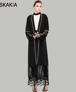 Siskakia Fashion Tassel Cardigan robes Muslimah Beading abaya lace hollow out patchwork design Jubah female Tall plus size tunic