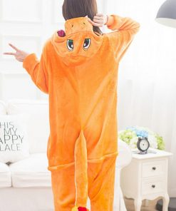 Charmander Pajama Pokemon Cosplay Costume Women Adult Kigurumi  Cute Animal Onesie Flannel Warm Winter Sleepwear Party Fancy  1