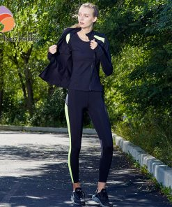 Andzhelika Women's Yoga sets New Yoga Running Fitness Tights Long Sleeve Yoga Top Sports Slim Leggings Elastic Jogging Pants 982