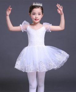 Short Sleeve Ballet Dancers Girls Swan Lake Dress White Cotton Lace Ballet Tutu Dress Sequin Kids Ballerina Party Dance Costumes 1