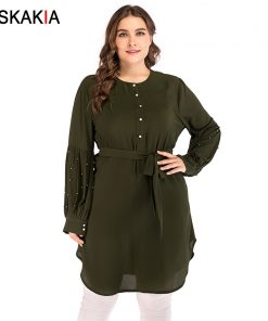 Siskakia Single-breasted Beading patchwork design women dress Autumn 2018 round neck long sleeve knee length dresses Solid Green