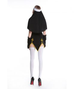 Sexy Halloween Costume Adult Nun Cosplay Black White Sister Fantasias Female Dress Festival Party Disguise Role Play Games Wear 1