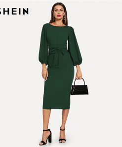 SHEIN Green Tie Waist Lantern Sleeve Dress Elegant Party Boat Neck Pencil Dresses Women Zipper Knot Sheath Autumn Dress