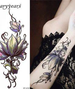glaryyears 26 Designs 1 Sheet Fake Black Alphabet Body Tattoo Sticker New Temporary Waterproof Arm Neck DIY Art for Women Men FF