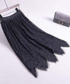 2018 Autumn Women Knitted Long Skirts High Waist Women Lace Skirt Two Way Wear Women Thick Winter Long Skirts Saia Faldas Female