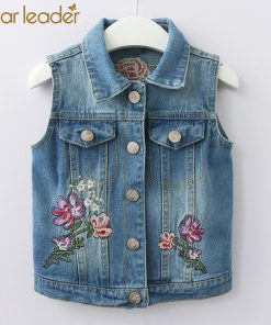 Bear Leader Girls Vests 2018 New Autumn Kids Vests Butterfly Flower Embroidery Denim Vest Girls Clothes For 2-7 Years