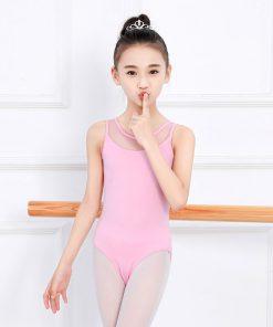 Toddlers Strap Gymnastics Leotard for Girls Pink Black Mesh Leotards with Back hole Bodysuit Exercises Dance Clothes Ballerina