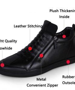 JUNJARM 2017 Men Boots Warm Plush Mens Winter Shoes Fashion Men Snow Boots Zipper Male Ankle Boots Black Cotton Inside Men Shoes 1