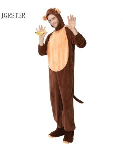 DJGRSTER Adult Animal Halloween Cosplay Costumes Monkey Plush Animal Costume For Men Halloween Jumpsuits Costumes 1