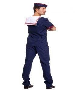 Plus Size Navy Costume Men Adult Sailor Cosplay Blue Worker Uniform Halloween Costumes  Carnival Festival Suit T-shirt Pant Hat  1