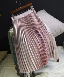 Sherhure 2018 Spring Women Long Skirts Fashion Brand A-Line Women Pleated Skirts High Waist Women Midi Skirt Faldas Mujer Saias