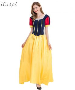 Snow White Dress Halloween Cosplay Costume Women Sexy Fantasias Adult Princess Disguise Long Dress Stage Performance Party Fancy