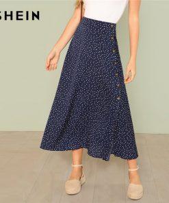 SHEIN Multicolor Vacation Boho Bohemian Beach Polka Dot Split Zipper Button Full Length Mid Waist Skirt Summer Women Skirts