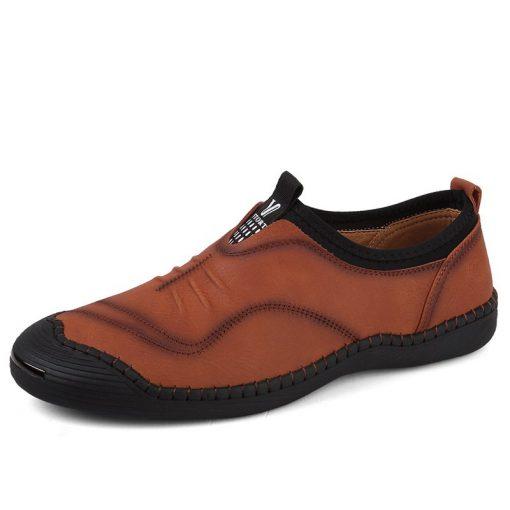 JUNJARM 2018 Spring Handmade Men Casual Shoes Brand Men Loafers Breathable Microfiber Men Flats High Quality Slip-on Men Shoes 1