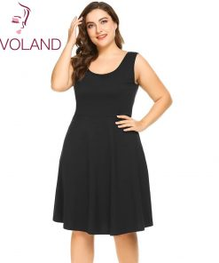 IN'VOLAND Women Basic Dress XL-5XL Summer Round Collar Sleeveless Solid Fit And Flare Summer Casual Dresses Vestidos Oversized 1
