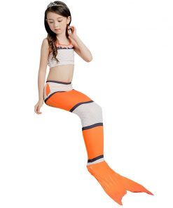 3PCS Girls Mermaid-Tail Costume Kids Mermaid Tails For Lovely Children Halloween Fanny Dress Swimmable Mermaid Cosplay Clothes